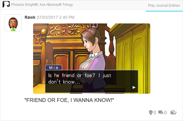Phoenix Wright Ace Attorney Justice For All Mia Fey friend or foe I just don't know