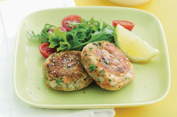 Flaked Salmon Is Blended With Herbs Bread Crumbs And Potato Flakes To Form Tasty And Versatile Little Pan Fried Patties