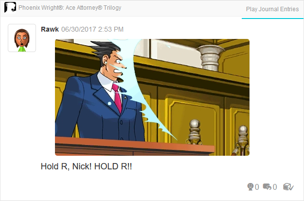 Phoenix Wright Ace Attorney Justice For All whipped reaction expression