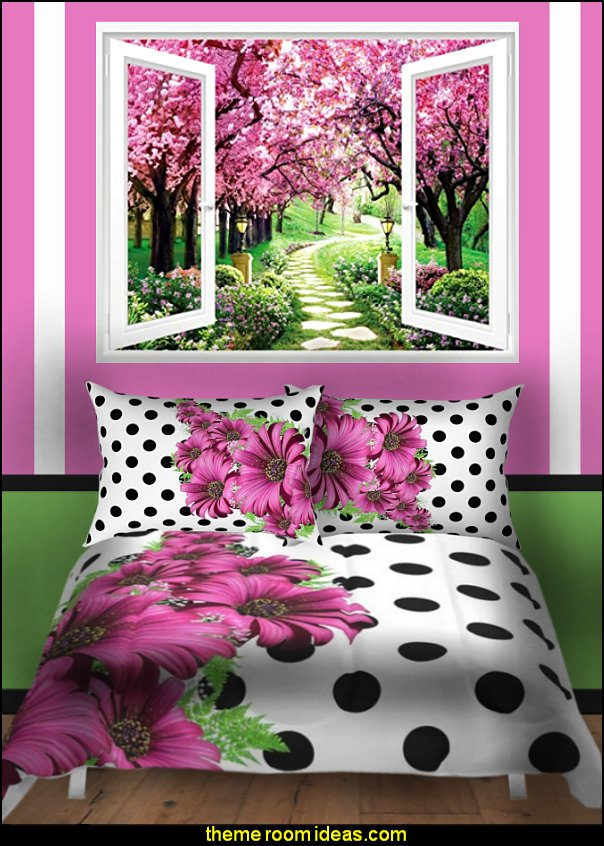flower bedding polka dot bedding garden window mural Garden Themed Bedrooms - decorating butterfly garden themed bedrooms - garden theme decor - floral bedding - flower theme bedding - flower wall decals - garden themed wall murals - ladybug bedroom ideas - garden wallpaper murals - flower wall decals - cottage garden theme bedroom furniture - house theme bed - adult garden theme bedrooms - floral bedding - Leaf chair