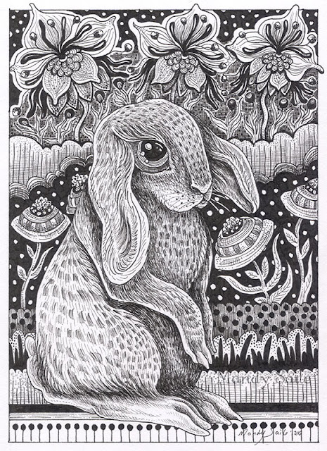 Mandy Saile, ink drawings, illustrations, black and white art, rabbits