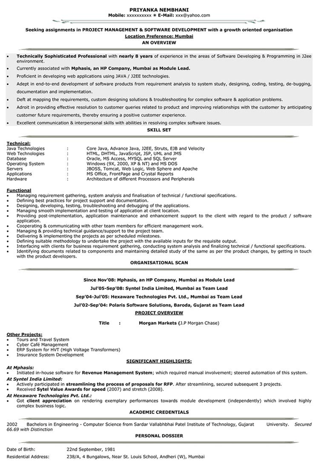 resume sample for experienced engineers