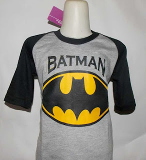 Kaos Raglan Anak Karakter Batman Abu-Abu