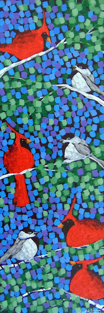Noisy Boys acrylic landscape painting by artist aaron kloss, aaron kloss painter, songbird painting, duluth art, duluth painter, painting of cardinals chickadees, sping
