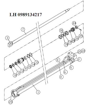 xy lanh ra chân trước cua  cau Dongyang 6 tan SS1404-SS1406