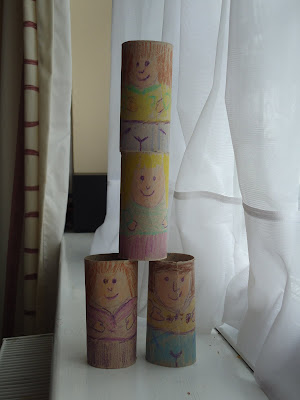 Toilet Roll People in a pyramid