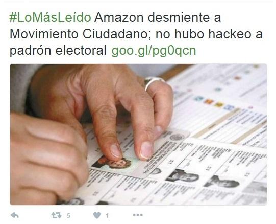 Lista nominal en Amazon fue proporcionada por Movimiento Ciudadano