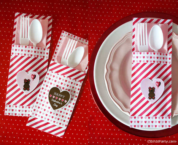 Valentine's Day | DIY Paper Cutlery Pockets - BirdsParty.com