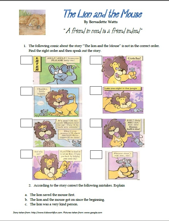 Printables The Lion And The Mouse Worksheets it is a piece of cake download from httppl scribd comdoc114925555the lion and the mouse worksheet