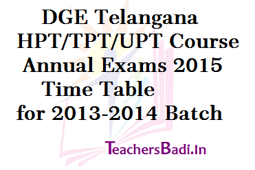 HPT TPT UPT Annual Exams, Time Table, LPT Course