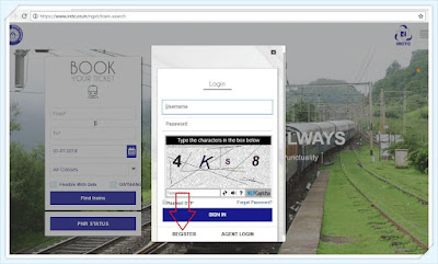 picture of irctc login box