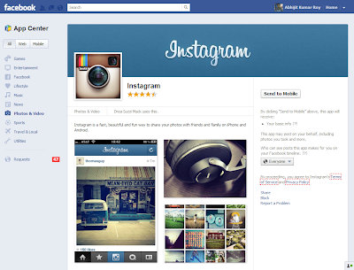 Instagram in Facebook Appcenter, Abhijit Roy in Instagram