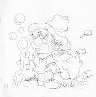 desenho de palhaco com bolhas de sabão