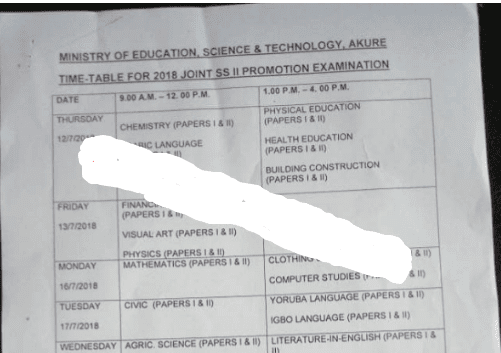Ondo State 2018/2019 Joint SS II Promotion Examination Timetable