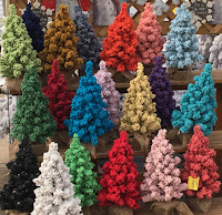 Live flocked Christmas trees in many colors