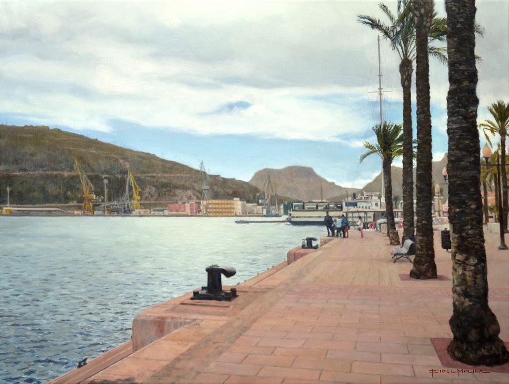 05-del-Puerto-de-Cartagena-Fidel-Molina-Realistic-Paintings-of-Cities-Frozen-in-Time-www-designstack-co