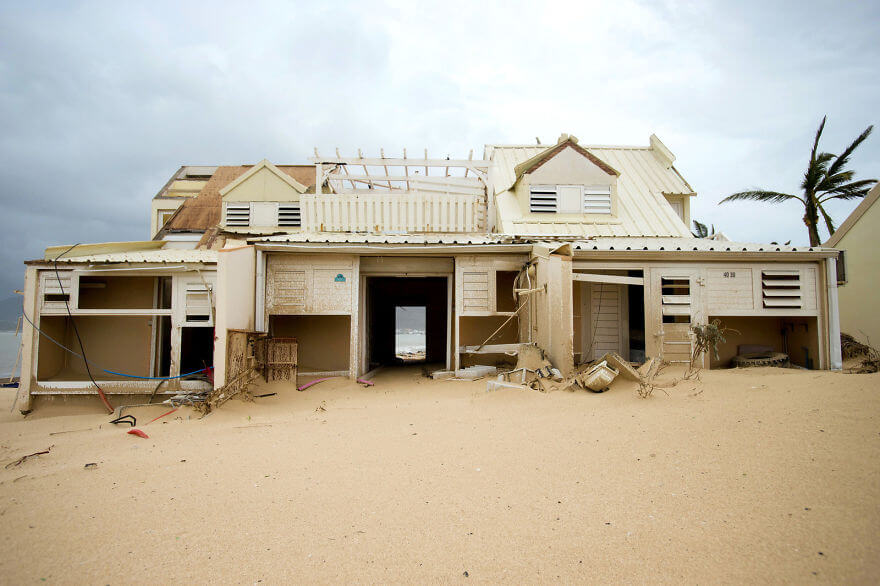30 Shocking Pictures That Show How Catastrophic Hurricane Irma Is - A Damaged Home In Marigot, Saint Martin, Is Left Filled With Sand After The Passage Of Hurricane Irma