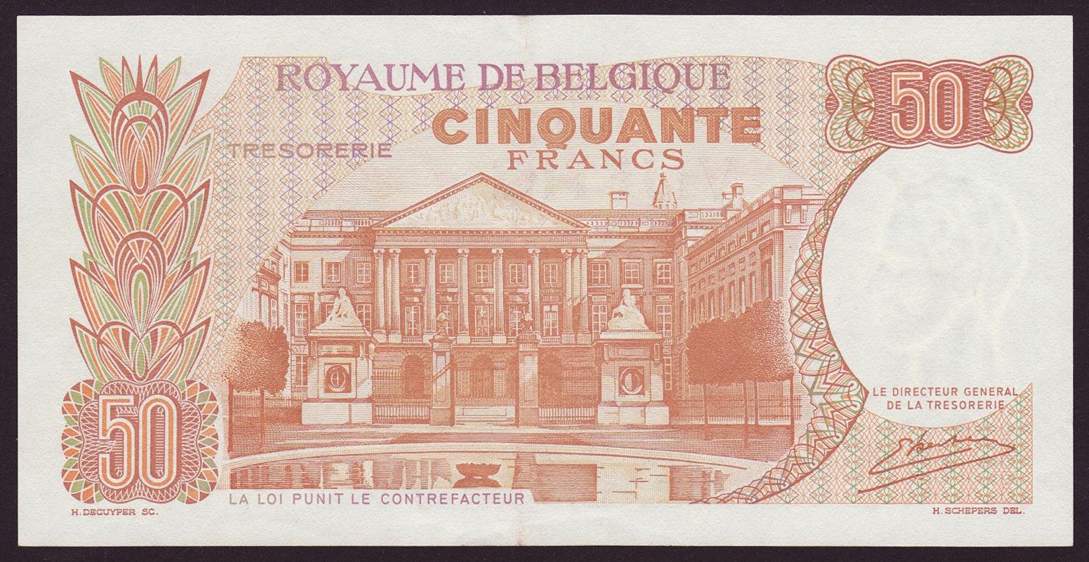 Belgium Banknotes 50 Francs Treasury Note 1966 Belgian Parliament Building in Brussels