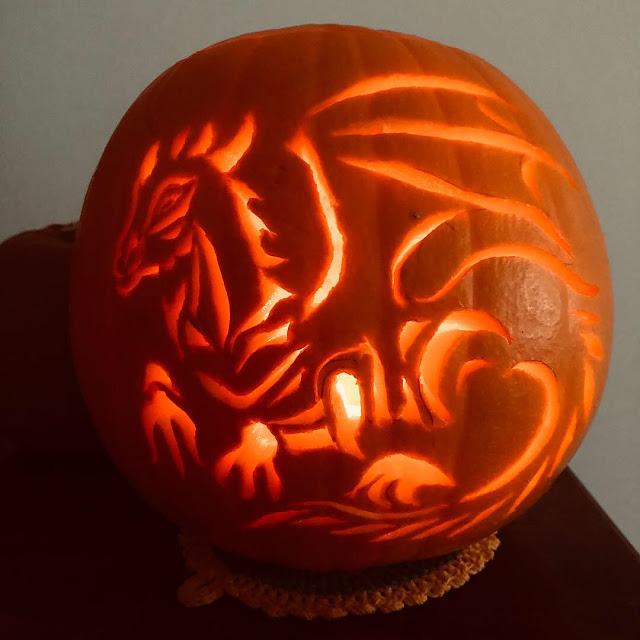 carved pumpkin, Merlin's dragon