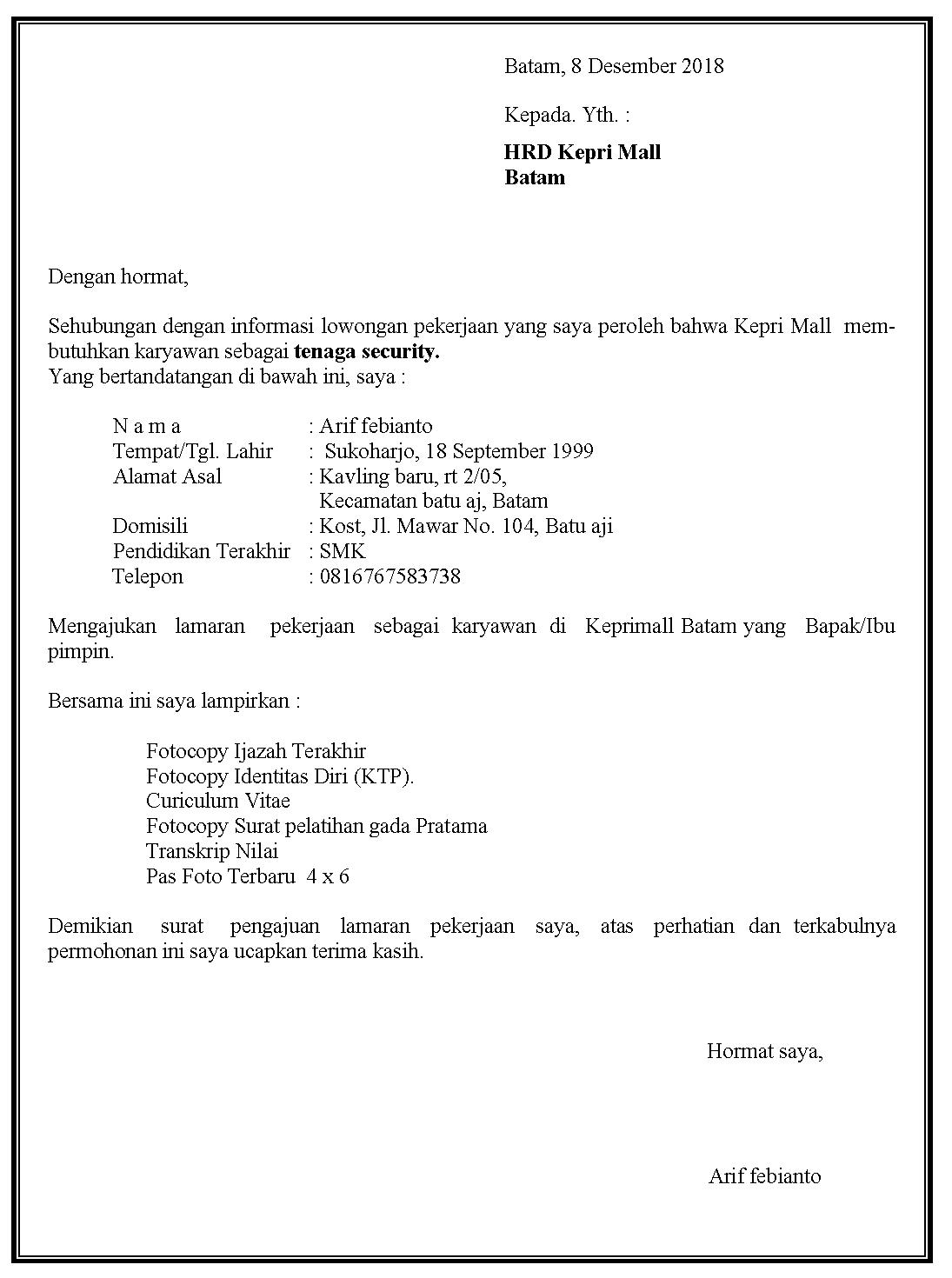 Contoh surat lamaran kerja security di Kepri Mall