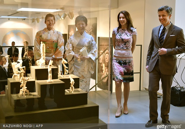 Danish Crown princess Mary and Crown Prince Frederik visit the official opening of the exhibition about Greenland, 'Spiritual Greenland', with Japanese Princess Takamado and her daughter Princess Tsuguko (L) in Tokyo