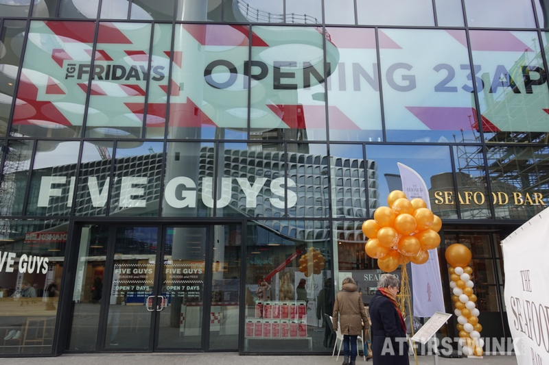 Utrecht Centraal station Five guys burger restaurant seafood bar TGI Fridays