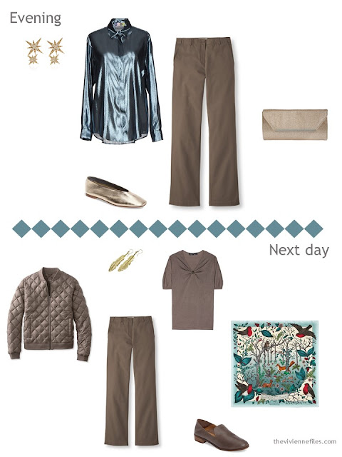two outfits from a Tote Bag Travel capsule in cool brown, teal and aqua