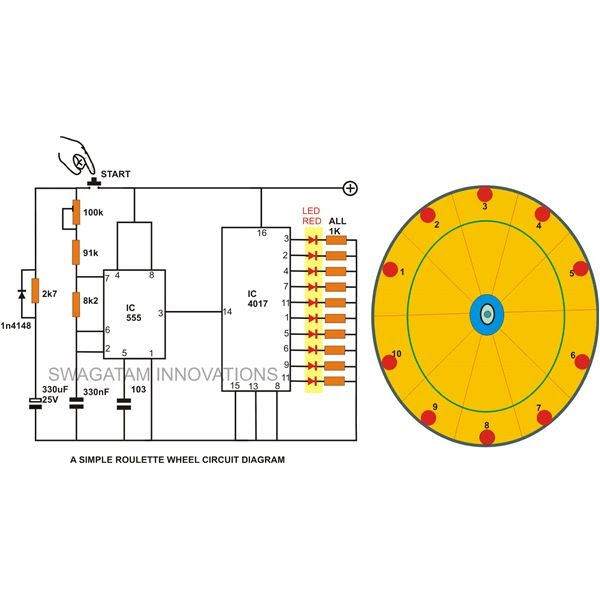 10 LED Simple Roulette Wheel Circuit Diagram Wiring Diagram Reference