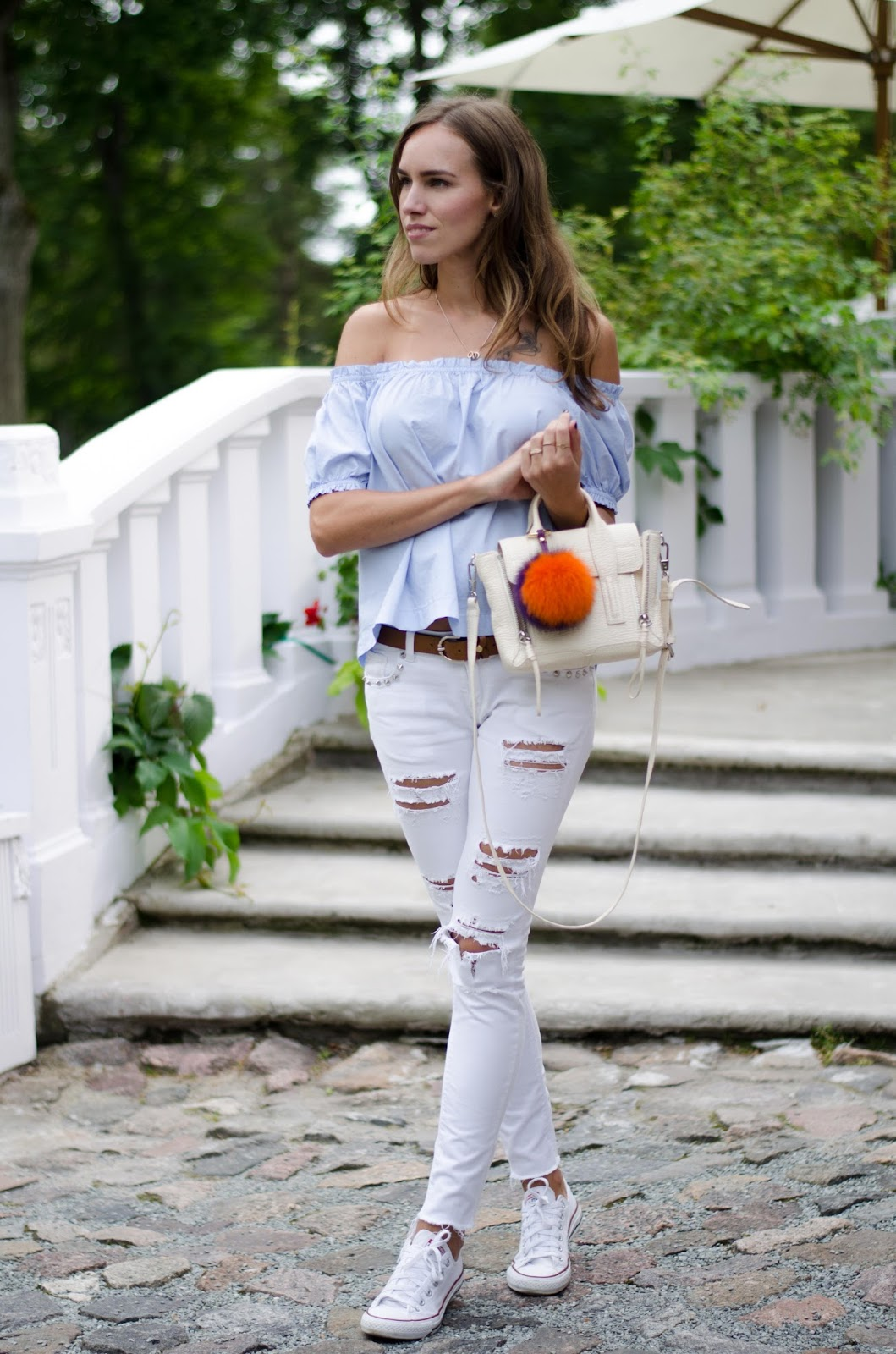 kristjaana mere off shoulder top ripped white jeans outfit