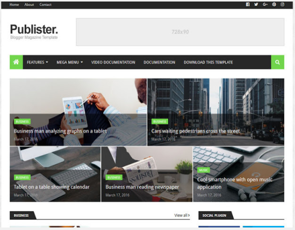 1. Publister Blogger Templates