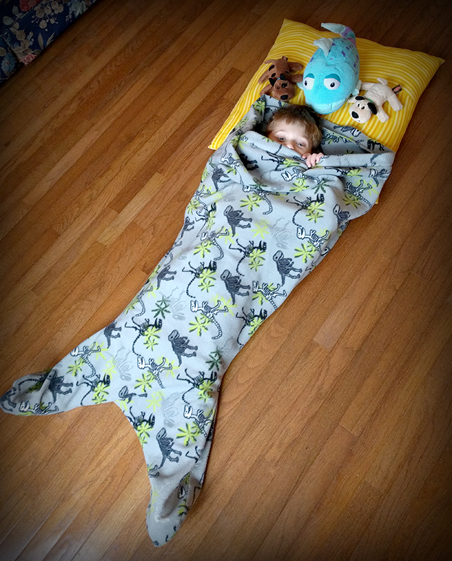 The mermaid blanket sewing pattern is a hit with kids.