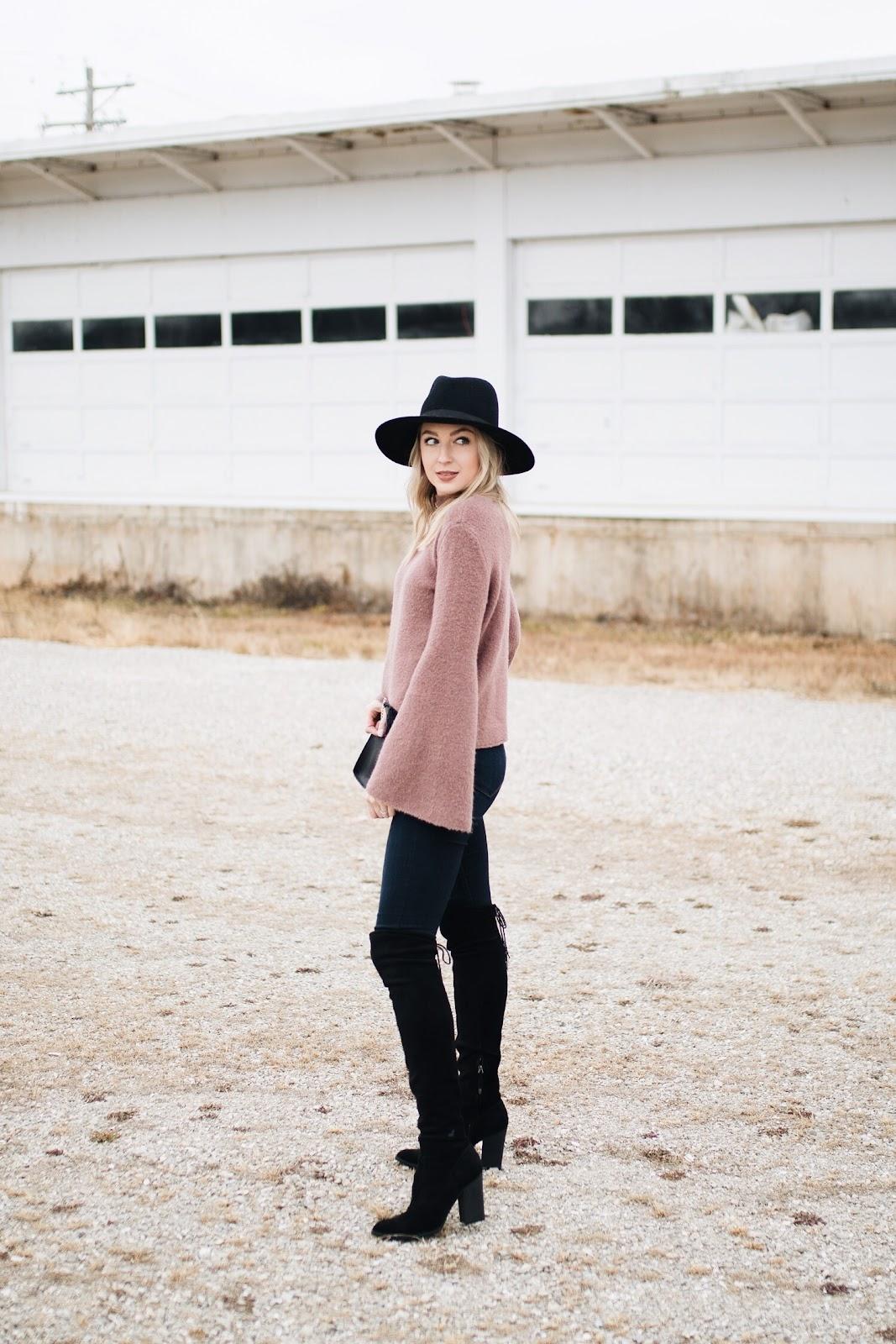 sweater, skinny jeans, otk boots