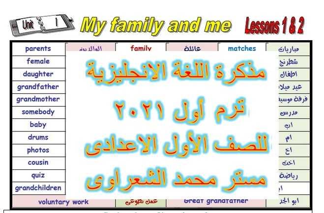 أقوى مذكرة لغة الانجليزية للصف الأول الاعدادى ترم أول 2021 مستر محمد الشعراوى