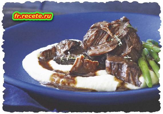 Joue de bœuf au vin rouge et purée de chou-fleur