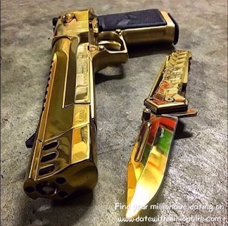 The gold pistols and daggers