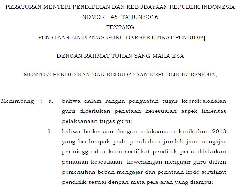 Download Permendikbud Nomor  Tentang Penataan Linieritas Guru Bersertifikat Pendidik