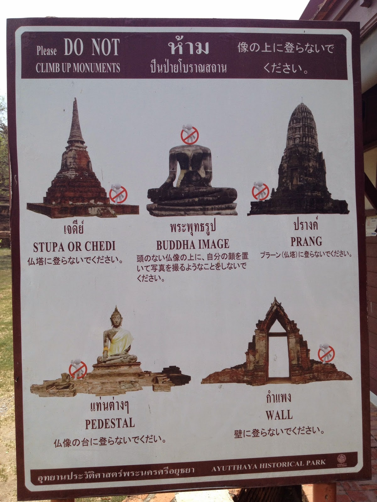 Ayutthaya - Sign placed outside of Wat Phra Ram
