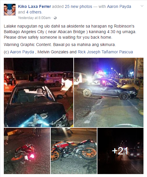 Kiko Laxa Ferrer post Angeles City accident