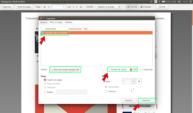 Transformation des pages web en pdf sur firefox linux
