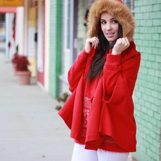 Red Fur Trim Cape