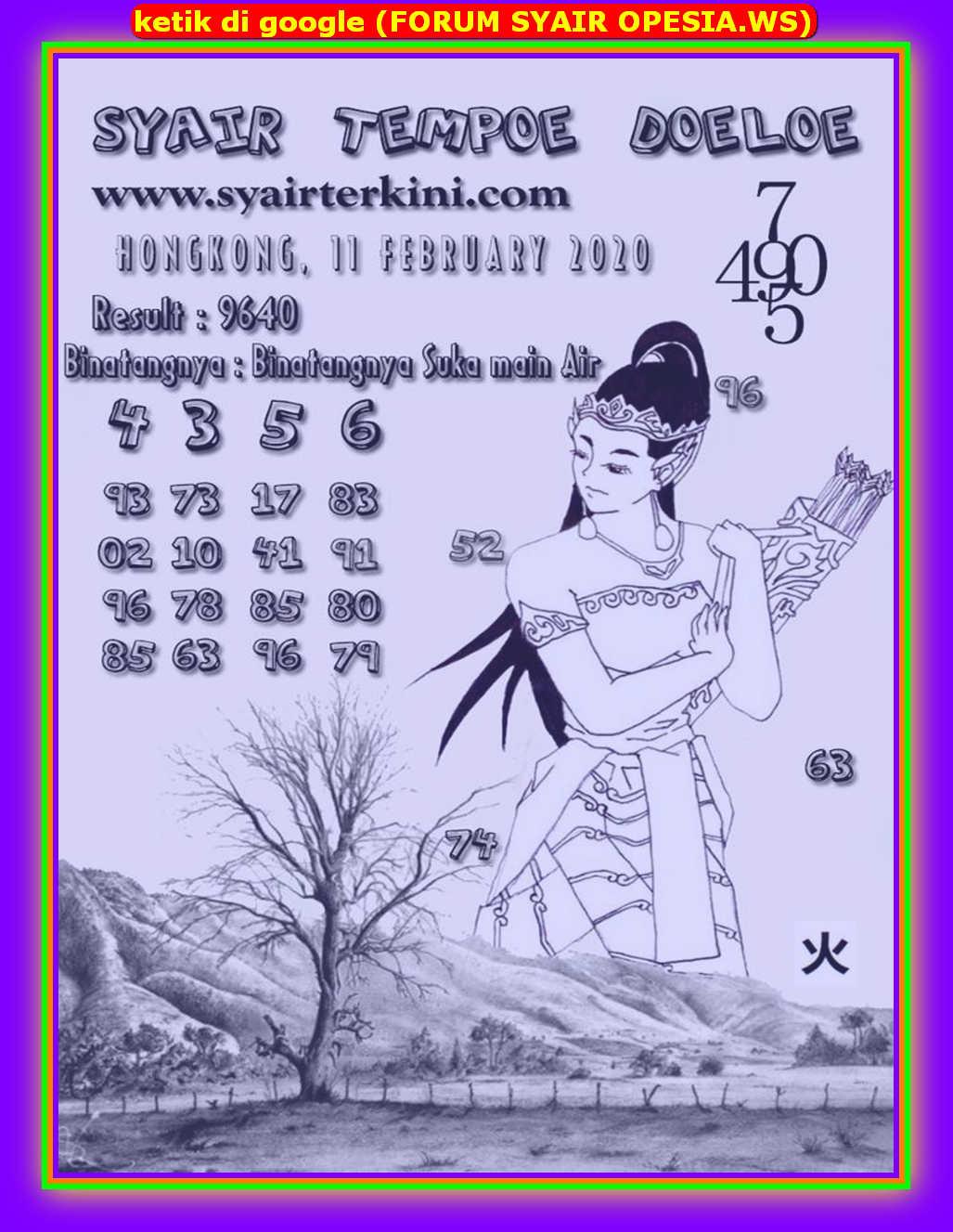 Kode syair Hongkong Selasa 11 Februari 2020 100