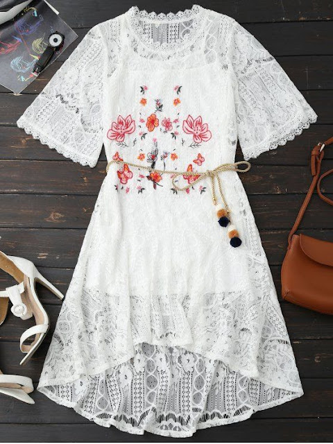 Zaful Rope Belt Lace Floral dress
