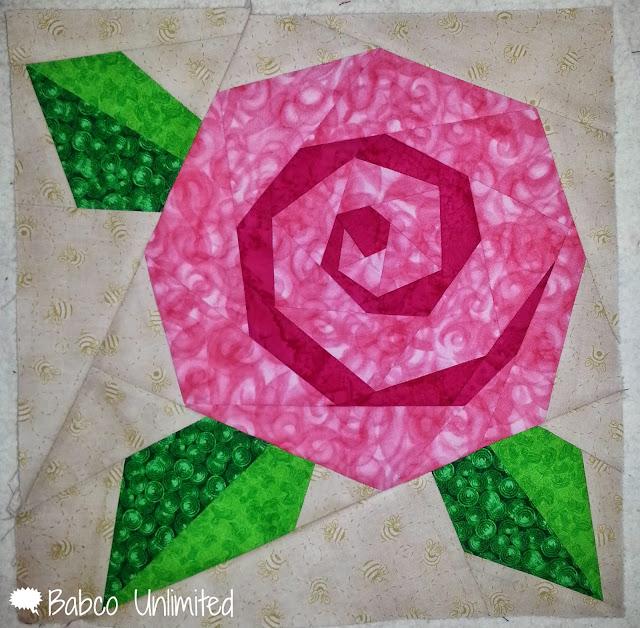 BabcoUnlimited.blogspot.com - Flower Quilt Block, Paper Piece Flower Quilt