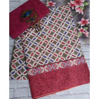 Kain Batik dan Embos 381 motif Kawung warna Merah Maroon