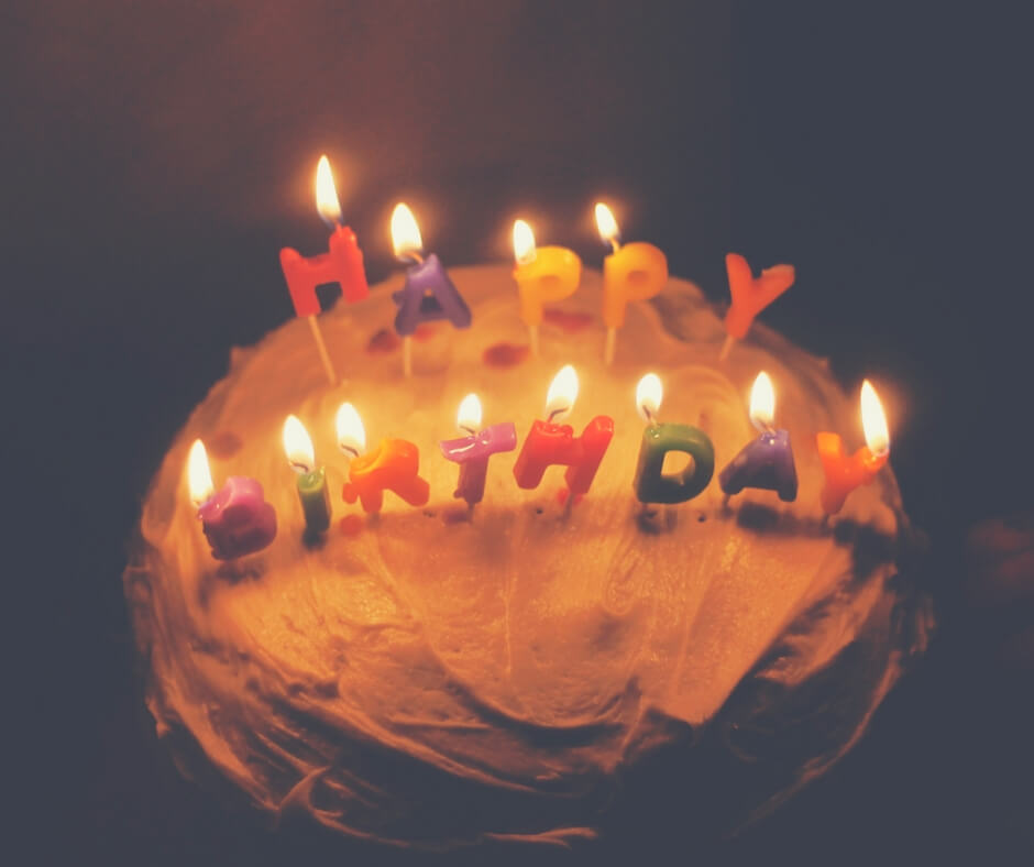 """A birthday cake with white frosting with candles on top that spell out """"Happy Birthday"""". Image for Post Comment Love 6th - 8th April."""