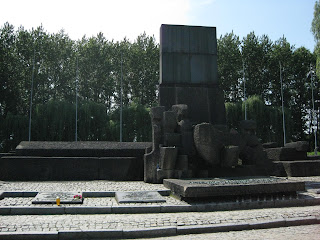 Memorial erected at the site of a gas chamber in Birkenau
