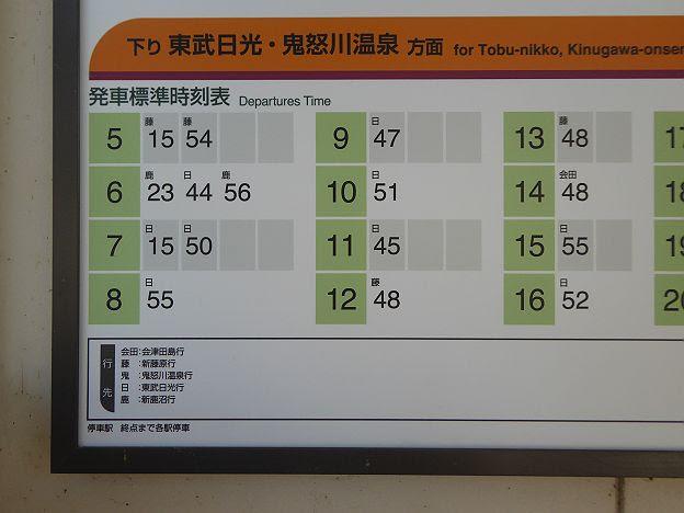 東武日光線 普通 新鹿沼行時刻表@合戦場