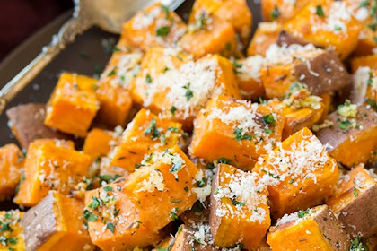 Savory Roasted Sweet Potatoes with Parmesan, Garlic & Herbs