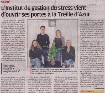 Article du journal la Provence du 3 Janvier 2016 pour la création de l'institut de gestion du stress Aubagne / Marseille